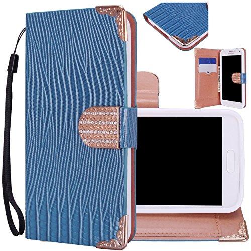 Majesticase® Samsung Galaxy S5 i9600 Wallet Case - Deluxe Bling Fancy Wristlet Wallet Purse Clutch Croc Pattern Cover + FREE Stylus in Blue