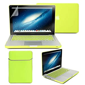 GMYLE(R) Neon Yellow 4 in 1 Rubberized (Rubber Coated) Hard Case Cover - Soft Sleeve Bag and Silicon Keyboard Protector - 13 inches Clear LCD Screen Protector - for MacBook Pro 13 inch (not fit for 13 Macbook Pro with Retina display)