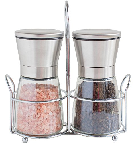 Willow & Everett Salt and Pepper Shakers with Matching Stand - Salt and Pepper Grinders - Spice Grinder with Adjustable Coarseness - Brushed Stainless Steel Salt and Pepper Mill Pair