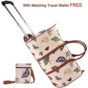 Signare Fashion Canvastapestry Wheeled Holdall Cabin Flight Bag Hand Luggage In Vintage Butterfly Design With Free Matching Travel Wallet -free Delivery