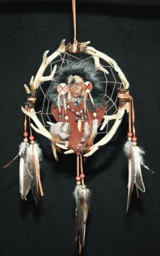 Antler Dreamcatcher with Raised Native American and Hanging Feathers