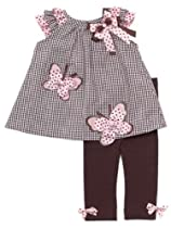 Rare Editions Baby Girls Butterfly Seersucker Dress Outfit Set w/ Leggings , Brown , 4T
