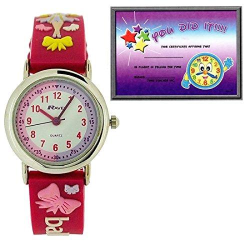 Ravel Time Teacher Ballerina in 3d design rosa cinturino + Telling Time Award