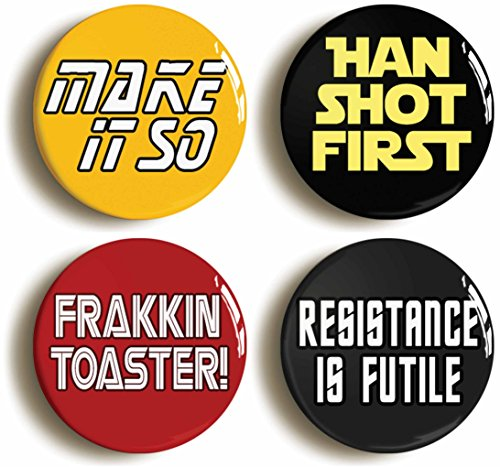 [Science Fiction Geek Button Pin Set (Size Is 1inch Diameter) Sci Fi Nerd Costume Party] (Galactica Costumes)