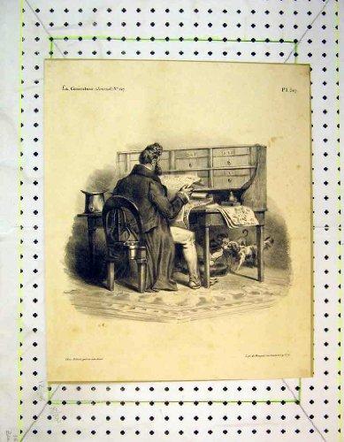 Französisches Antikes Druck-Mann-LesePapier Paris Verfolgt Schreibtisch