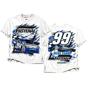 Buy #99 Carl Edwards Fastenal Mens White Speedway Tee by Brickels