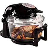Andrew James 12 LTR Premium Black Digital Halogen Oven Cooker With Hinged Lid + Easily Replaceable Spare Bulb + 2 YEAR WARRANTY + 128 page Recipe Book - Complete with Extender Ring (Up to 17 Litres), Cake/Rice Dish, Toast Rack, Baking Tray, Steamer Tray, Skewers, High And Low Racks 1400 Watts