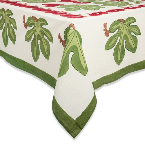 Couleur Nature 90-Inches Round Fig Tablecloth, Red/Green