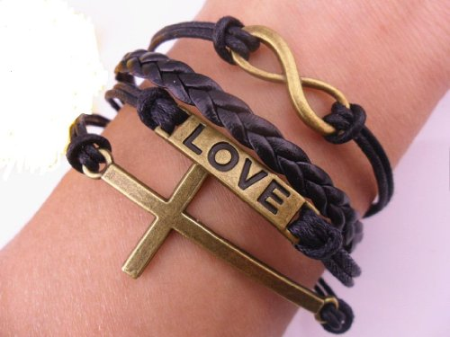 Handmade Black Leather Rope Infinite Bracelet