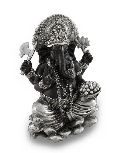 Metallic Silver/Bronze Finish Sitting Ganesha Figurine