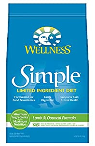 Wellness Simple Limited Ingredient Diet Lamb & Oatmeal Natural Dry Dog Food, 26-Pound Bag