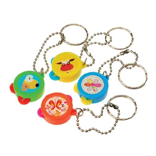 Dozen Assorted Color Tambourine Key Chains Key Rings
