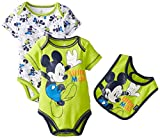 Disney Baby Baby-Boys Newborn Mickey Mouse Adorable 3 Piece Bodysuit and Bib Set, Green, 9 Months