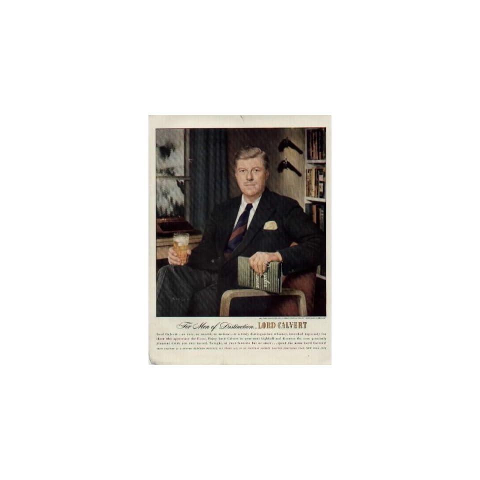 For Men of Distinction   Mr. James Warner Bellah, Distinguished Author of Irregular Gentleman.  1948 LORD CALVERT Whiskey Ad, A5816A. 19480105