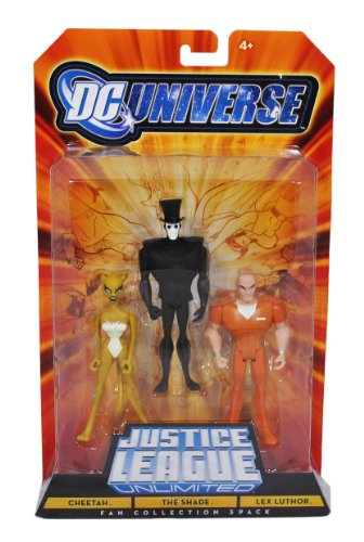 Buy Low Price Mattel DC Universe Year 2008 Justice League Unlimited Fan Collection 3 Pack 4-1/2 Inch Tall Action Figure – Cheetah, The Shade and Lex Luthor (B004AIEJL4)