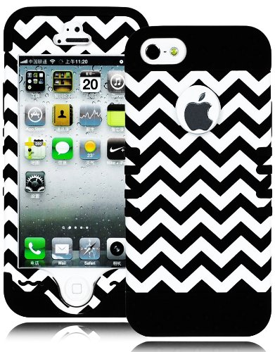 Mylife (Tm) Black - Black And White Chevron Series (Neo Hypergrip Flex Gel) 3 Piece Case For Iphone 5/5S (5G) 5Th Generation Itouch Smartphone By Apple (External 2 Piece Fitted On Hard Rubberized Plates + Internal Soft Silicone Easy Grip Bumper Gel)