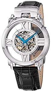 Stuhrling Original Men's 276.33152 Classic Winchester Cross Automatic Skeleton Stainless Steel Black Leather Strap Watch