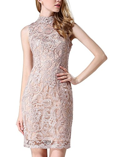 Searia Women High Neck Sleeveless Floral Lace Cocktail Clubwear Evening Dress Small
