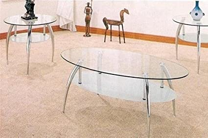 3PC Modern Glass Coffee Table Set With One Coffee Table And Two End Tables In Chrome Metal Finish. (Item# Vista Furniture CF7635)