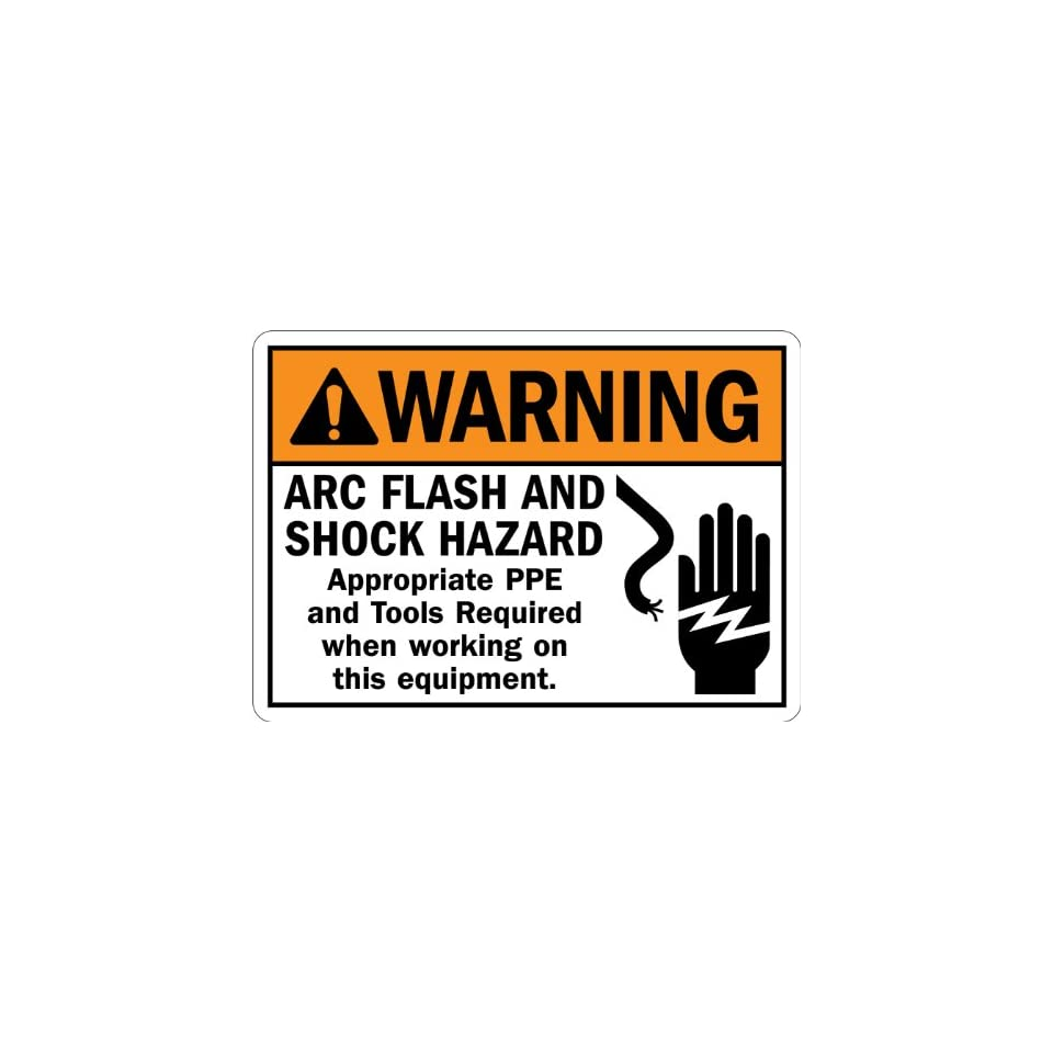 SmartSign Adhesive Vinyl Label, Legend Warning Arc Flash and Shock Hazard PPE Required with Graphic, 7 high x 10 wide, Black/Orange on White
