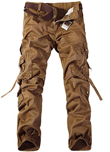 Jeansian Moda Pantaloni Casual Uomo Slim Cargo Pant J201 EarthYellow W34