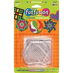 Fun Fusion Bead Pegboards 5-Pack: Circle/Star/Heart/Hexagon/Square