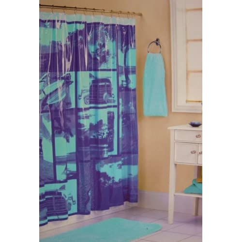 Organic Shower Curtain Liner Cobalt and Turquoise Sho