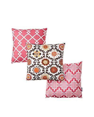 Gravel Set of 3 Moroccan Tile Print Throw Pillows, Multi