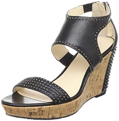 Calvin Klein Women's Jasmine Wedge Sandal,Black,6.5 M US