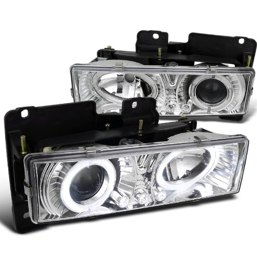 Spec-D Tuning LHP-C1088-RS Chevy GMC C10 Pickup Silverado Suburban Chrome Halo Led Projector Headlights (Silverado Grill With Led compare prices)