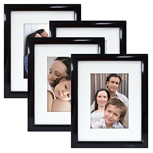 MCS 8X10 Gallery Picture Frame Matted to Display 5X7 Pictures Glass Front (Black) 4 Pack (7 X 10 Frame compare prices)