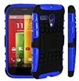 Magic Global Gadgets - Blue Heavy Duty Armour Tough Shockproof Stand Hard Case Cover For Motorola Moto G (XT1033/XT1032) 8GB 16GB 3G Dual Sim With Screen Guard, Cleaning Cloth & MGG Stylus