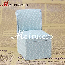 1/12 Scale Fine Dollhouse Miniature Furniture Blue Lovely Cloth Art Small Chair