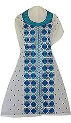 Phulkari Craft Women's Cotton Unstitched Kurti (PC0017_White_Free Size)