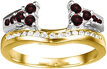Silver Anniversary Jacket Ring with Diamonds and Ruby 05 ct twt