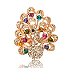 buy Fashion Plaza Women'S 18K Rose Gold Plated Animal Peacock Spreads Its Tail With Coloful Crystals Phoenix Ring R435-6