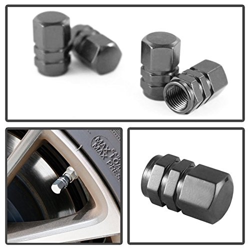 iJDMTOY (4) Tuner Racing Style Gun Metal Grey Aluminum Tire Valve Caps (Hexagon Shape) (Tire Caps Valve Toyota compare prices)