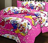 Hav Kids Special Barbie Cotton Double Bedsheet With 2 Pillow Cover, Pink