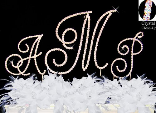 Raebella Wedding Renaissance Monogram Wedding Cake Top Gold Rhinestone Accent 3Pc Letter Cake Topper Set