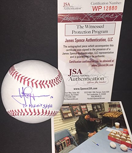 yan-gomes-cleveland-indians-signed-mlb-baseball-jsa-coa-witness-1st-mlb-hit