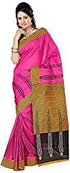 Shree Creation Women's Art Silk Saree with Blouse Piece (Pink)