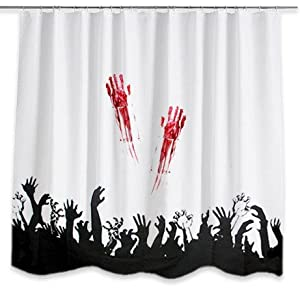 Zombie shower curtain for Zombie bathroom decor