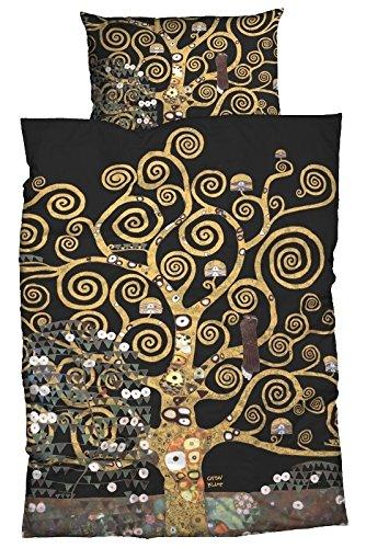 goebel satin bettw sche nach gustav klimt lebensbaum 135x200 cm 80x80 cm schwarz gold. Black Bedroom Furniture Sets. Home Design Ideas