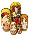 GreatRussianGifts Ladies Of Mucha 2 nesting doll 5-pc 7H