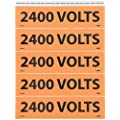 "NMC JL2012O Voltage Marker, Legend ""2400 VOLTS"", 9 Length x 2-1/4"" Height, Pressure Sensitive Vinyl, Black on Orange"