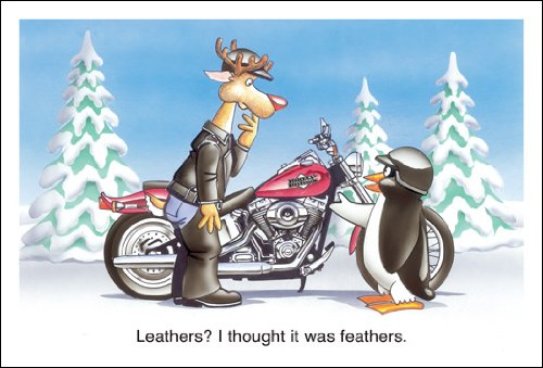 Harley Davidson Christmas Cards, Leathers...I Thought It was Feathers, Pack of 10 with envelopes