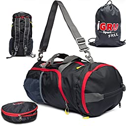 Convertible Black Duffle Backpack For Active Men With FREE Laundry Bag - 22 Inch by IGRU Sport