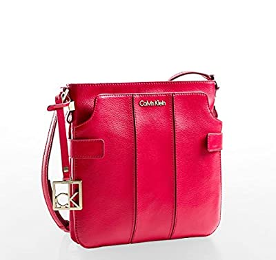Calvin Klein Womens Caitlin Double Pocket Leather Crossbody Bag Berry