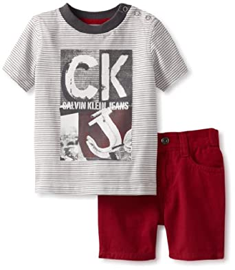 Calvin Klein Baby-boys Infant Stripe Tee With Short, Red, 24 Months