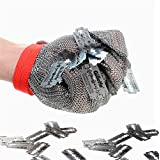 Inf-way 304L Brushed Stainless Steel Mesh Cut Resistant Chain Mail Gloves Kitchen Butcher Working Safety Glove 1pcs (XXS)